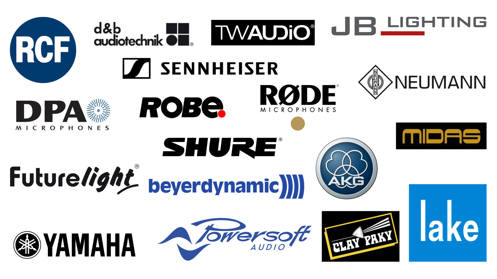 TW Audio, D&B, RCF, Lake, Powersoft, Midas, Yamaha, Shure, Bayerdynamic, Sennheisser, Neumann, AKG, Rode, JB-Lighting, Futurelight, Robe, Clay Packy, Panasonic usw.